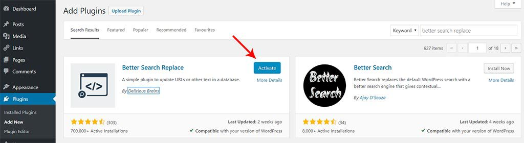 Activate better search replace plugin