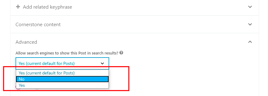 Yoast settings allowing search engines to index content